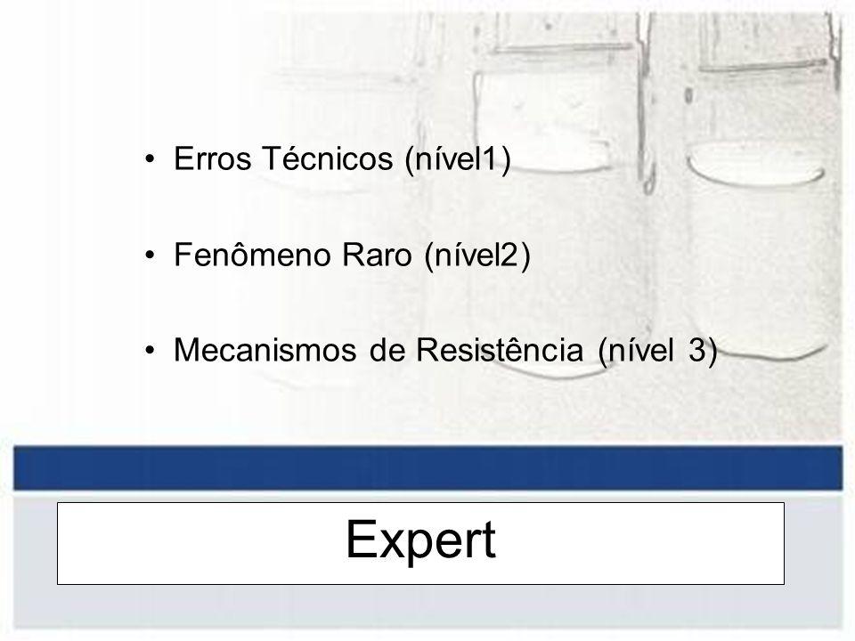 Expert Erros Técnicos (nível1) Fenômeno Raro (nível2) Mecanismos de Resistência (nível 3)