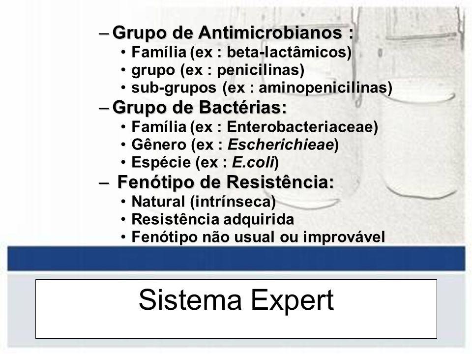 Sistema Expert –Grupo de Antimicrobianos : Família (ex : beta-lactâmicos) grupo (ex : penicilinas) sub-grupos (ex : aminopenicilinas) –Grupo de Bactér