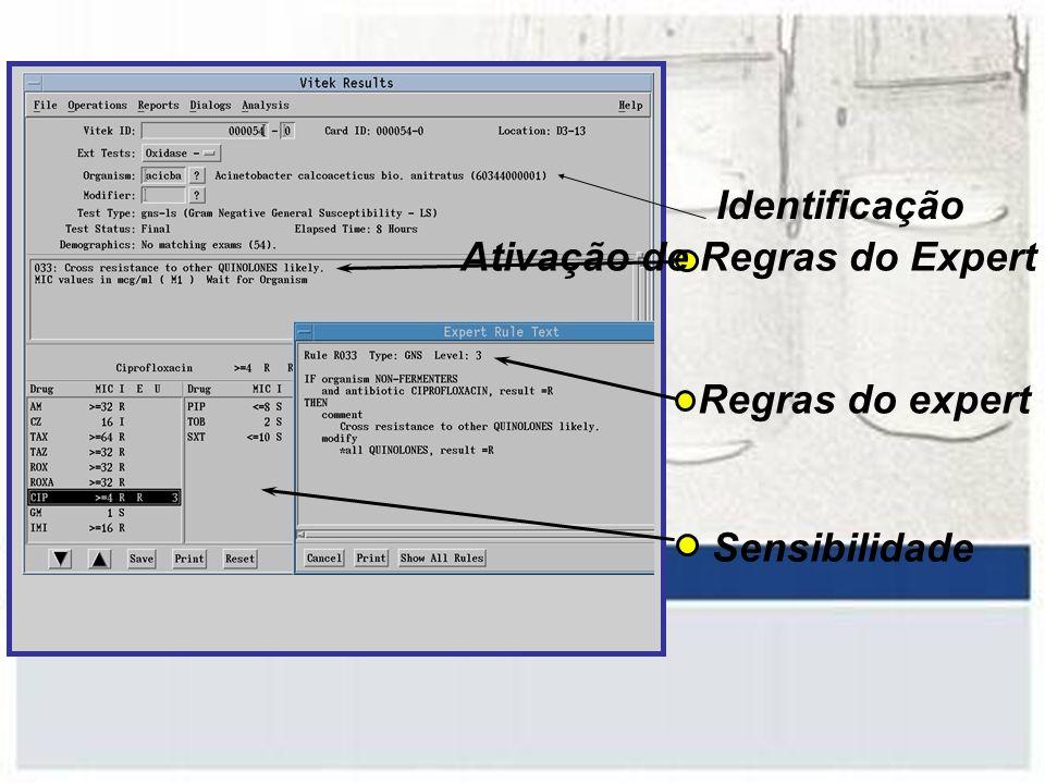 Identificação Ativação de Regras do Expert Regras do expert Sensibilidade