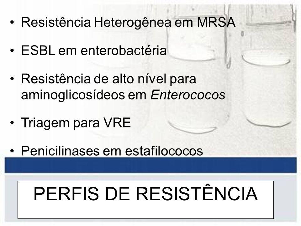 PERFIS DE RESISTÊNCIA Resistência Heterogênea em MRSA ESBL em enterobactéria Resistência de alto nível para aminoglicosídeos em Enterococos Triagem pa