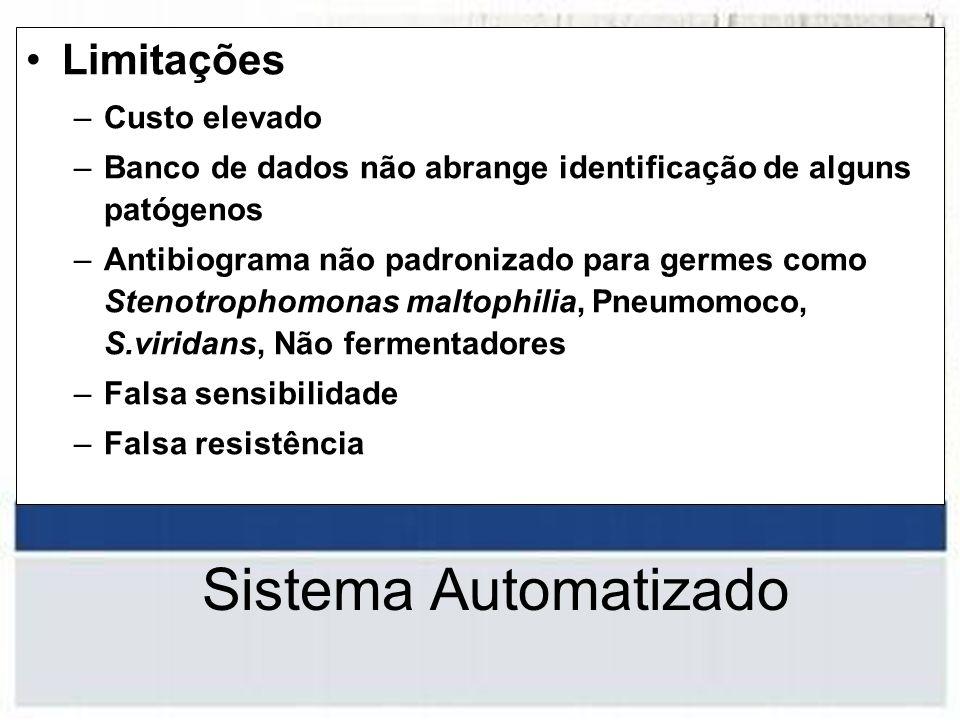 Limitações –Custo elevado –Banco de dados não abrange identificação de alguns patógenos –Antibiograma não padronizado para germes como Stenotrophomona