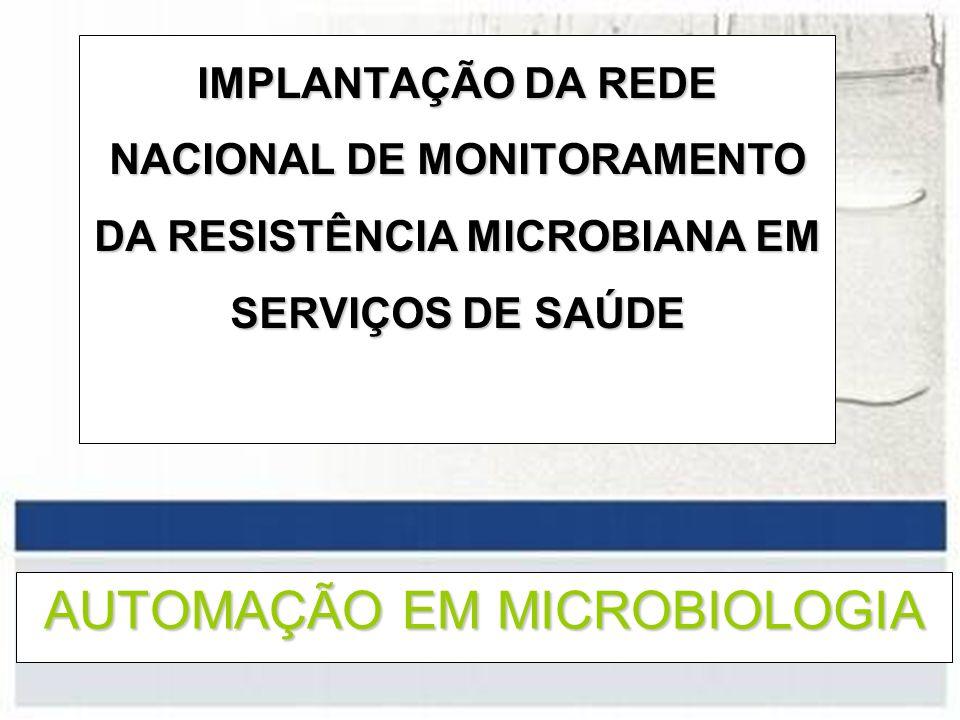 AUTOMAÇÃO EM MICROBIOLOGIA IMPLANTAÇÃO DA REDE NACIONAL DE MONITORAMENTO DA RESISTÊNCIA MICROBIANA EM SERVIÇOS DE SAÚDE