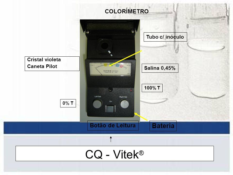 Processamento - Vitek Triagem da colônia –Pura / recente ( < 24h ) –Gram Escolha do painel / Cartão –GNI +: Enterobacteriaceae, Não Ferm., Vibrionaceae –GNS-655: Enterobacteriaceae, Pseudomonas ( .