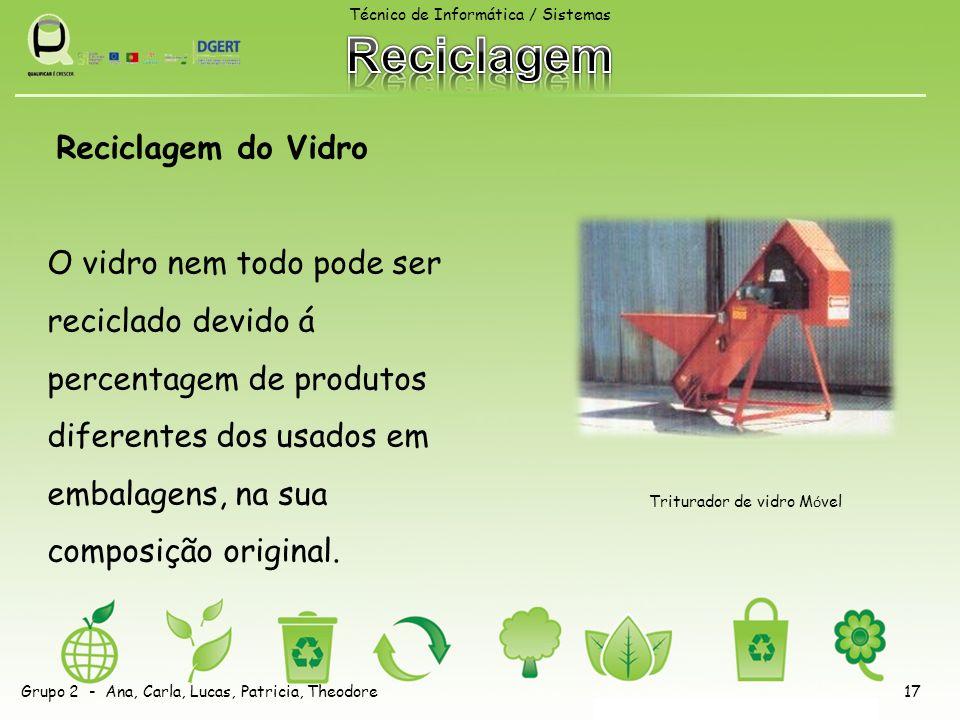 Reciclagem do Vidro O vidro nem todo pode ser reciclado devido á percentagem de produtos diferentes dos usados em embalagens, na sua composição origin