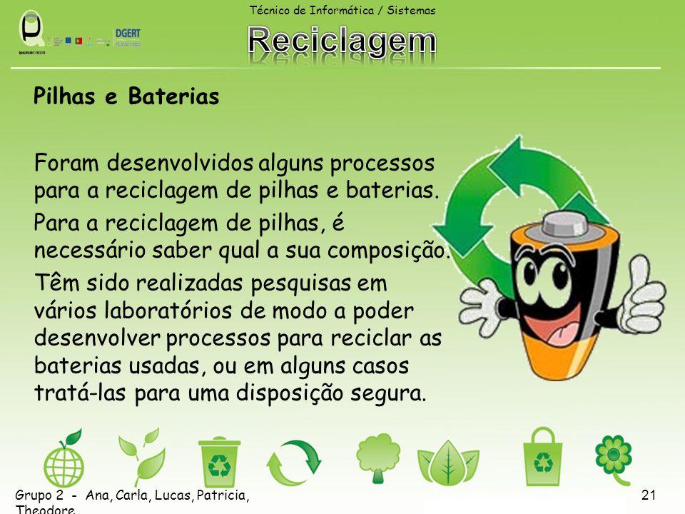 Pilhas e Baterias Foram desenvolvidos alguns processos para a reciclagem de pilhas e baterias. Para a reciclagem de pilhas, é necessário saber qual a