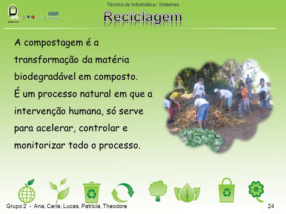 A compostagem é a transformação da matéria biodegradável em composto. É um processo natural em que a intervenção humana, só serve para acelerar, contr
