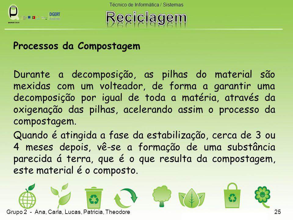 Processos da Compostagem Durante a decomposição, as pilhas do material são mexidas com um volteador, de forma a garantir uma decomposição por igual de toda a matéria, através da oxigenação das pilhas, acelerando assim o processo da compostagem.