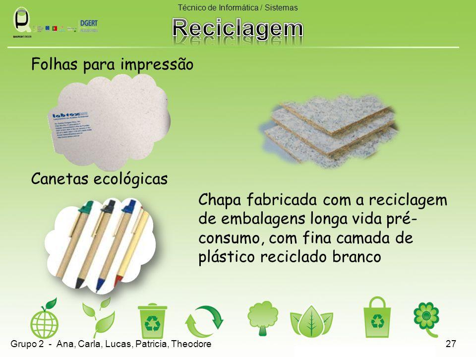 Folhas para impressão Canetas ecológicas Técnico de Informática / Sistemas 27 Chapa fabricada com a reciclagem de embalagens longa vida pré- consumo,