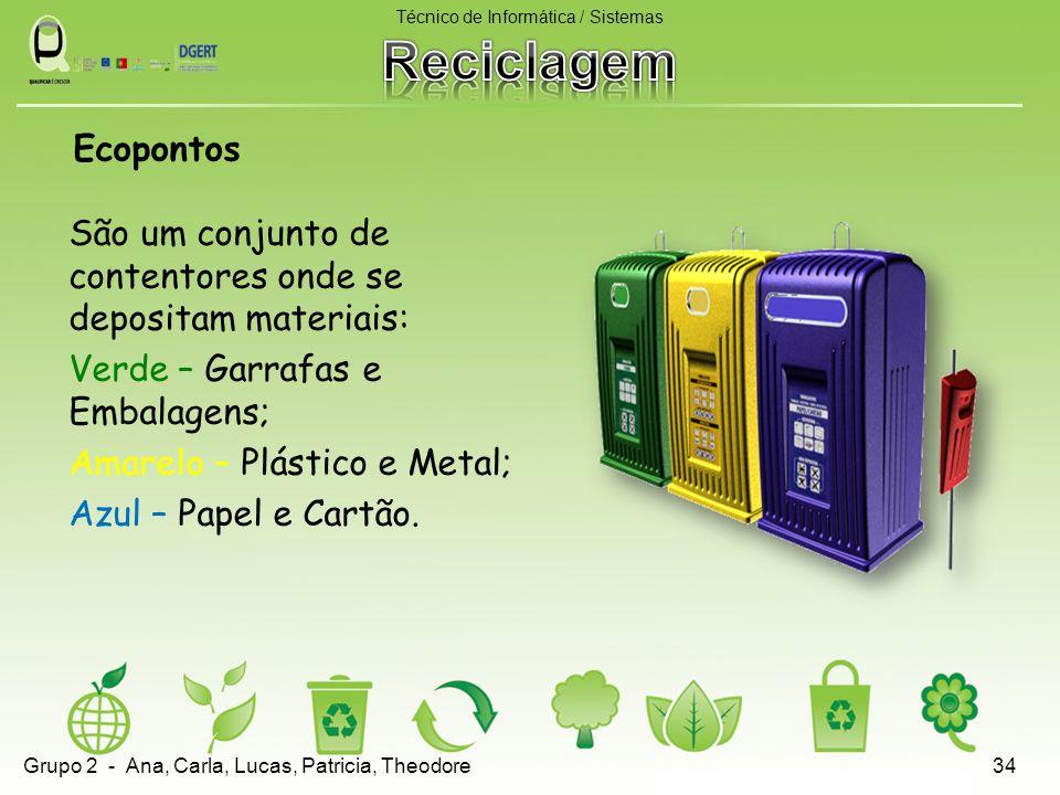 São um conjunto de contentores onde se depositam materiais: Verde – Garrafas e Embalagens; Amarelo – Plástico e Metal; Azul – Papel e Cartão. Técnico