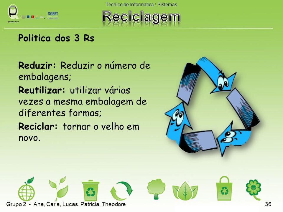 Politica dos 3 Rs Reduzir: Reduzir o número de embalagens; Reutilizar: utilizar várias vezes a mesma embalagem de diferentes formas; Reciclar: tornar o velho em novo.