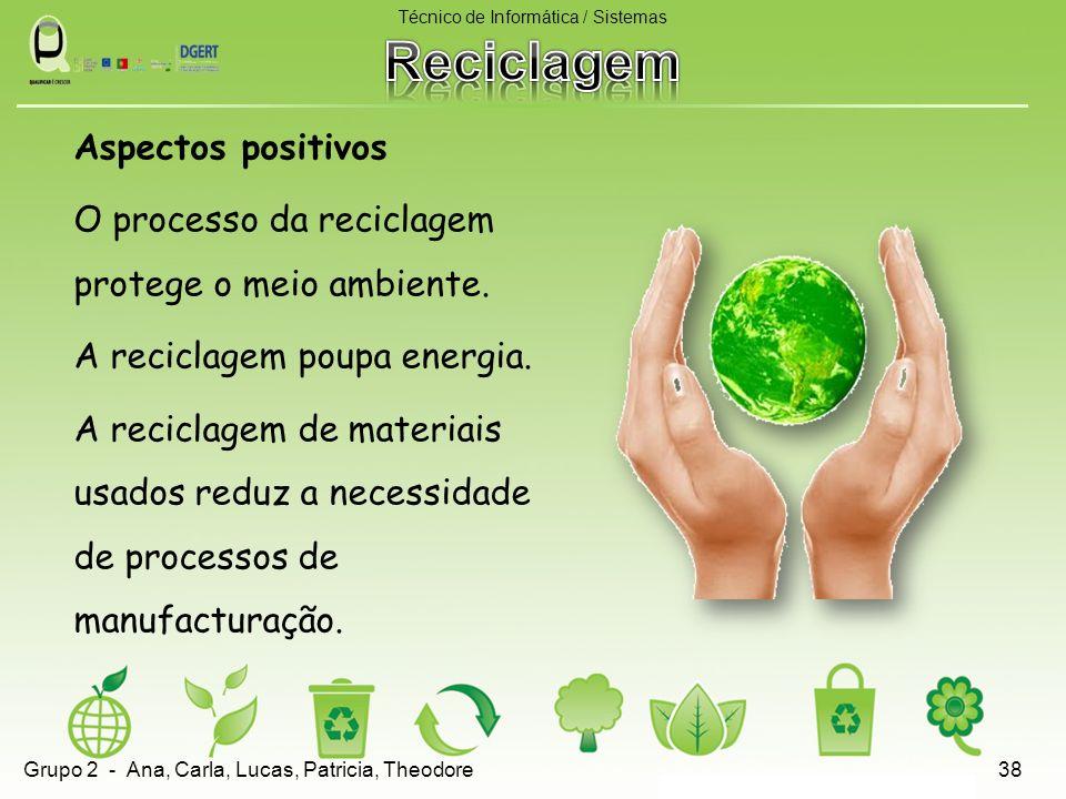 Aspectos positivos O processo da reciclagem protege o meio ambiente. A reciclagem poupa energia. A reciclagem de materiais usados reduz a necessidade