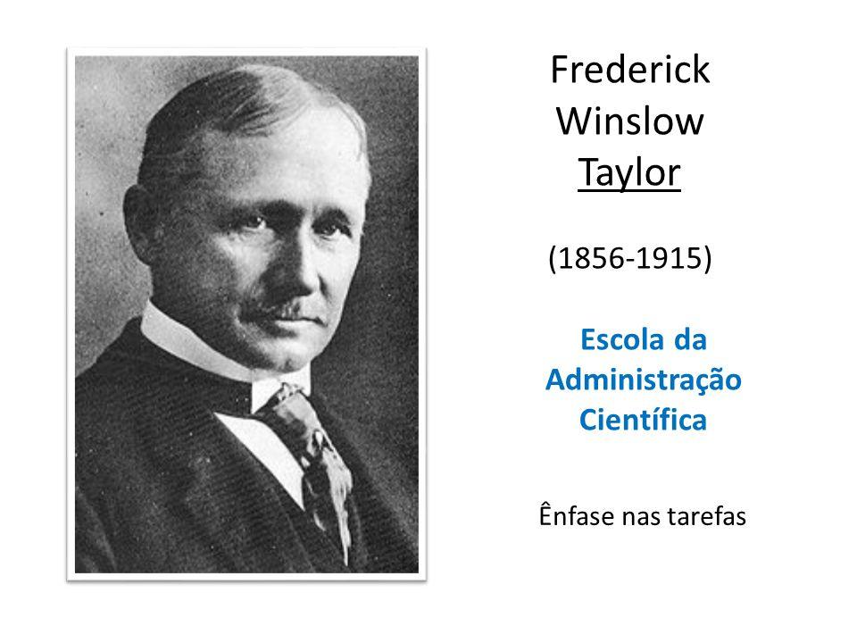 Escola da Administração Científica Frederick Winslow Taylor (1856-1915) Ênfase nas tarefas
