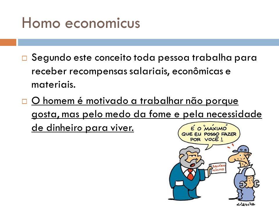 Homo economicus Segundo este conceito toda pessoa trabalha para receber recompensas salariais, econômicas e materiais. O homem é motivado a trabalhar