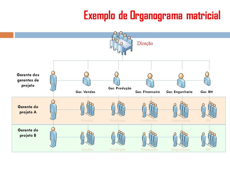 Exemplo de Organograma matricial Direção Ger. Vendas Ger. Produção Ger. Financeiro Ger. Engenharia Ger. RH VendasProduçãoFinanceiroEngenhariaRH Vendas