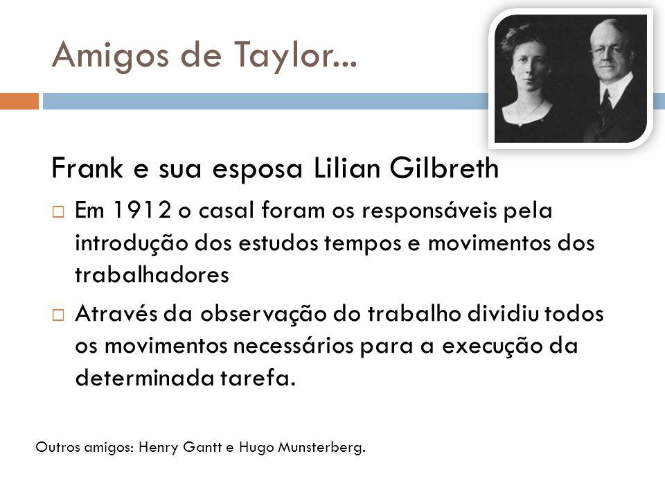 Amigos de Taylor... Frank e sua esposa Lilian Gilbreth Em 1912 o casal foram os responsáveis pela introdução dos estudos tempos e movimentos dos traba
