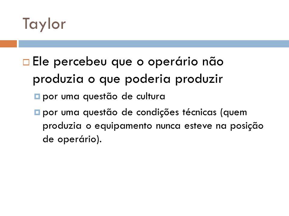 Taylor Ele percebeu que o operário não produzia o que poderia produzir por uma questão de cultura por uma questão de condições técnicas (quem produzia