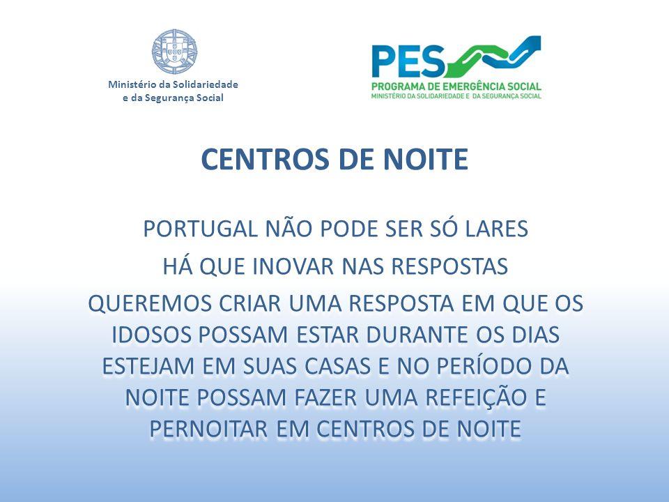 Ministério da Solidariedade e da Segurança Social PORTUGAL NÃO PODE SER SÓ LARES HÁ QUE INOVAR NAS RESPOSTAS QUEREMOS CRIAR UMA RESPOSTA EM QUE OS IDO