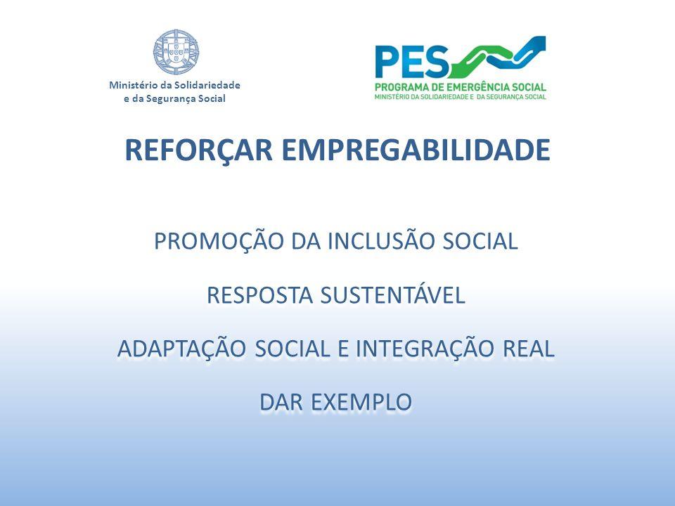 Ministério da Solidariedade e da Segurança Social PROMOÇÃO DA INCLUSÃO SOCIAL RESPOSTA SUSTENTÁVEL ADAPTAÇÃO SOCIAL E INTEGRAÇÃO REAL DAR EXEMPLO PROM