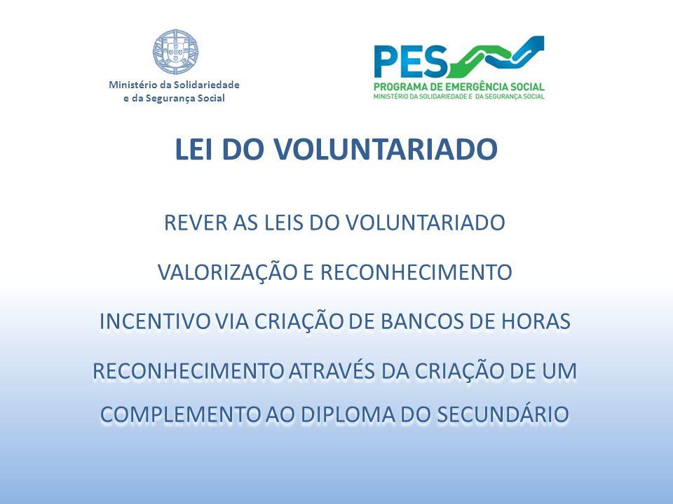 Ministério da Solidariedade e da Segurança Social REVER AS LEIS DO VOLUNTARIADO VALORIZAÇÃO E RECONHECIMENTO INCENTIVO VIA CRIAÇÃO DE BANCOS DE HORAS