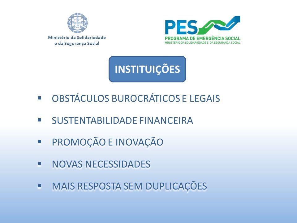 Ministério da Solidariedade e da Segurança Social OBSTÁCULOS BUROCRÁTICOS E LEGAIS SUSTENTABILIDADE FINANCEIRA PROMOÇÃO E INOVAÇÃO NOVAS NECESSIDADES