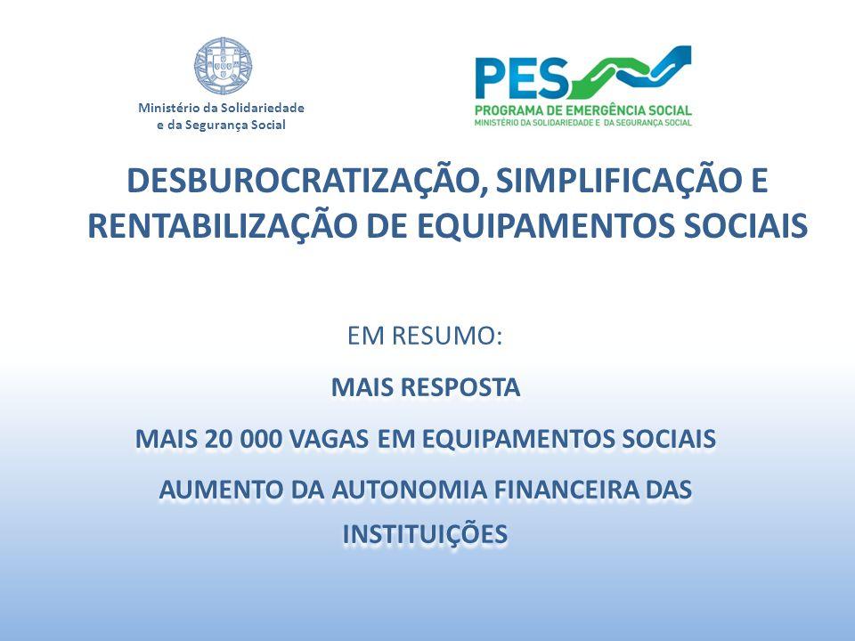 Ministério da Solidariedade e da Segurança Social EM RESUMO: MAIS RESPOSTA MAIS 20 000 VAGAS EM EQUIPAMENTOS SOCIAIS AUMENTO DA AUTONOMIA FINANCEIRA D