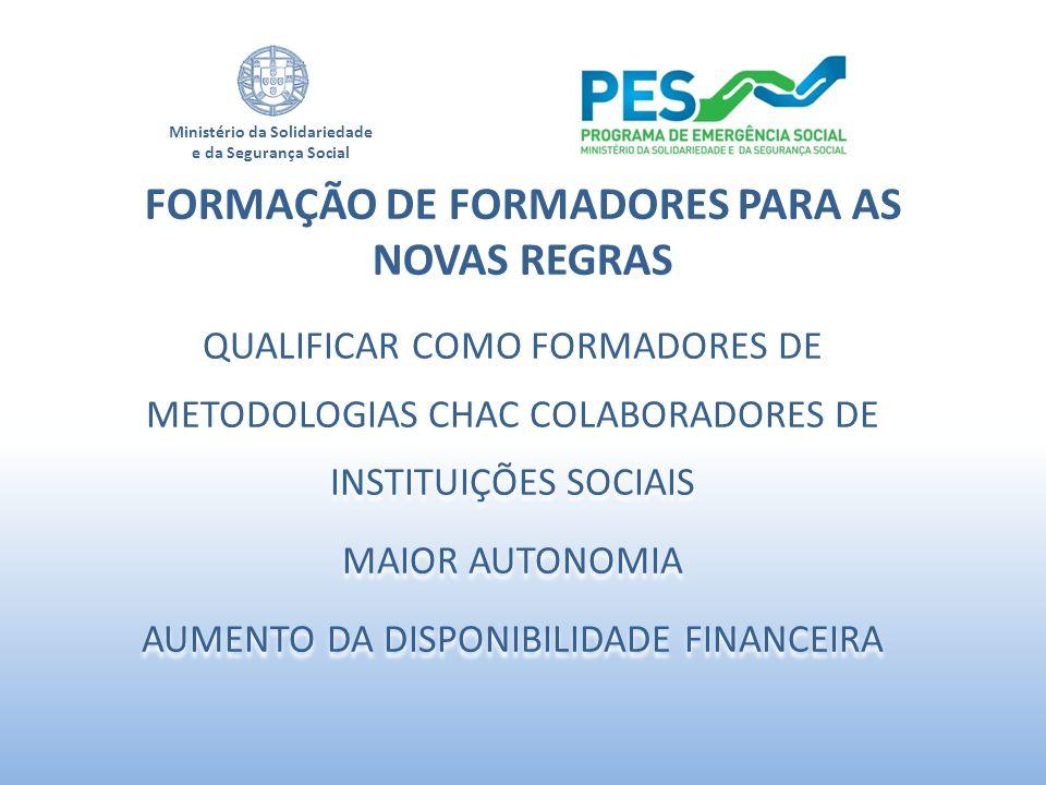 Ministério da Solidariedade e da Segurança Social QUALIFICAR COMO FORMADORES DE METODOLOGIAS CHAC COLABORADORES DE INSTITUIÇÕES SOCIAIS MAIOR AUTONOMI