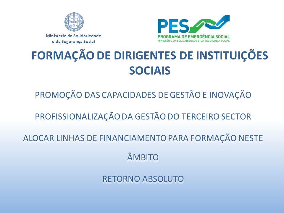 Ministério da Solidariedade e da Segurança Social PROMOÇÃO DAS CAPACIDADES DE GESTÃO E INOVAÇÃO PROFISSIONALIZAÇÃO DA GESTÃO DO TERCEIRO SECTOR ALOCAR