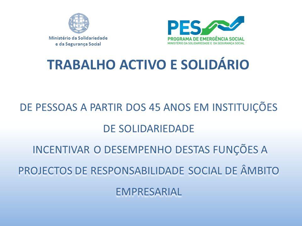 Ministério da Solidariedade e da Segurança Social TRABALHO ACTIVO E SOLIDÁRIO DE PESSOAS A PARTIR DOS 45 ANOS EM INSTITUIÇÕES DE SOLIDARIEDADE INCENTI
