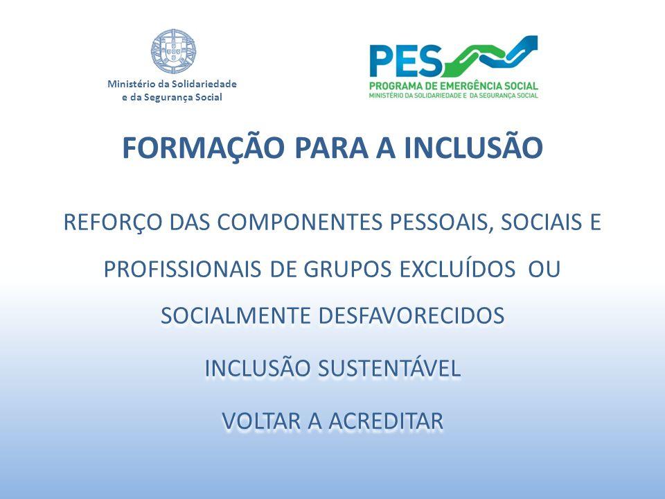 Ministério da Solidariedade e da Segurança Social REFORÇO DAS COMPONENTES PESSOAIS, SOCIAIS E PROFISSIONAIS DE GRUPOS EXCLUÍDOS OU SOCIALMENTE DESFAVO
