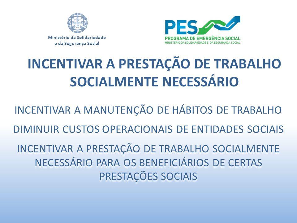 Ministério da Solidariedade e da Segurança Social INCENTIVAR A PRESTAÇÃO DE TRABALHO SOCIALMENTE NECESSÁRIO INCENTIVAR A MANUTENÇÃO DE HÁBITOS DE TRAB