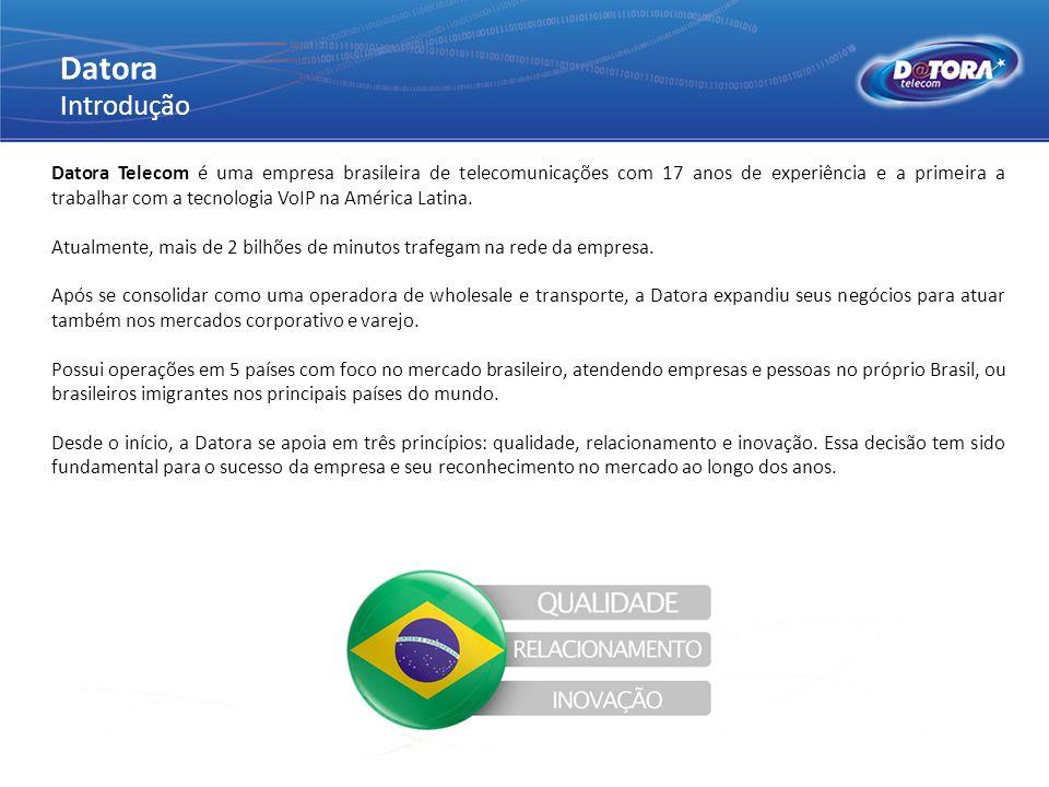 Datora Introdução Datora Telecom é uma empresa brasileira de telecomunicações com 17 anos de experiência e a primeira a trabalhar com a tecnologia VoI