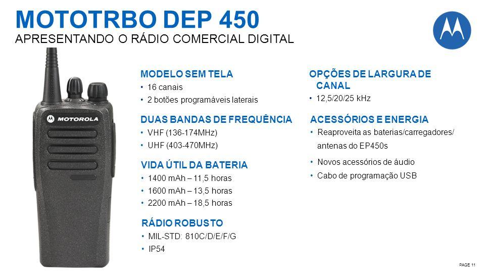 PAGE 11 MOTOTRBO DEP 450 APRESENTANDO O RÁDIO COMERCIAL DIGITAL MODELO SEM TELA 16 canais 2 botões programáveis laterais DUAS BANDAS DE FREQUÊNCIA VHF