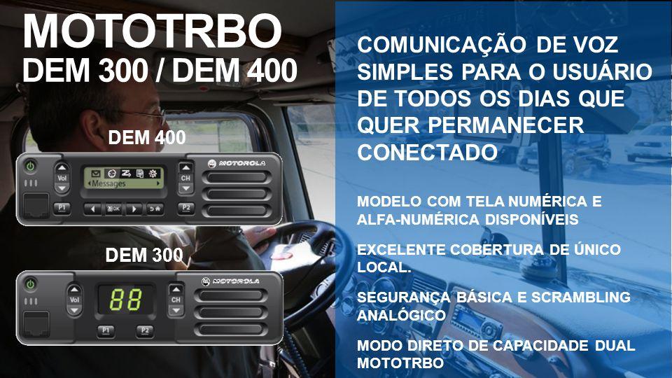 DEM 400 DEM 300 MOTOTRBO DEM 300 / DEM 400 COMUNICAÇÃO DE VOZ SIMPLES PARA O USUÁRIO DE TODOS OS DIAS QUE QUER PERMANECER CONECTADO MODELO COM TELA NU
