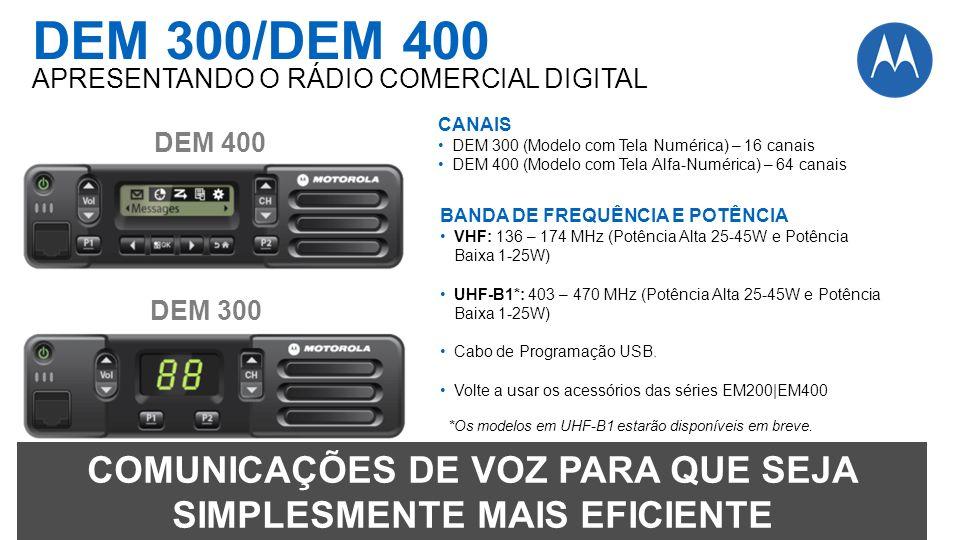DEM 400 DEM 300 CANAIS DEM 300 (Modelo com Tela Numérica) – 16 canais DEM 400 (Modelo com Tela Alfa-Numérica) – 64 canais BANDA DE FREQUÊNCIA E POTÊNC
