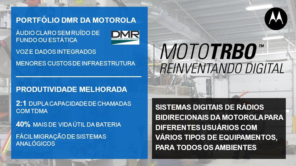 PORTFÓLIO DMR DA MOTOROLA ÁUDIO CLARO SEM RUÍDO DE FUNDO OU ESTÁTICA VOZ E DADOS INTEGRADOS MENORES CUSTOS DE INFRAESTRUTURA PRODUTIVIDADE MELHORADA 2