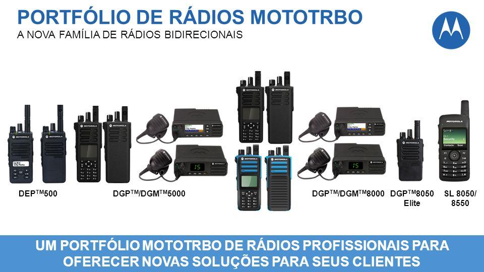 UM PORTFÓLIO MOTOTRBO DE RÁDIOS PROFISSIONAIS PARA OFERECER NOVAS SOLUÇÕES PARA SEUS CLIENTES DEP TM 500DGP TM /DGM TM 5000DGP TM /DGM TM 8000SL 8050/