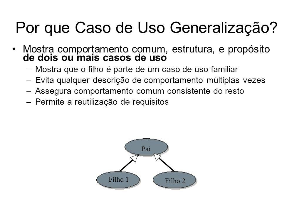 Por que Caso de Uso Generalização.