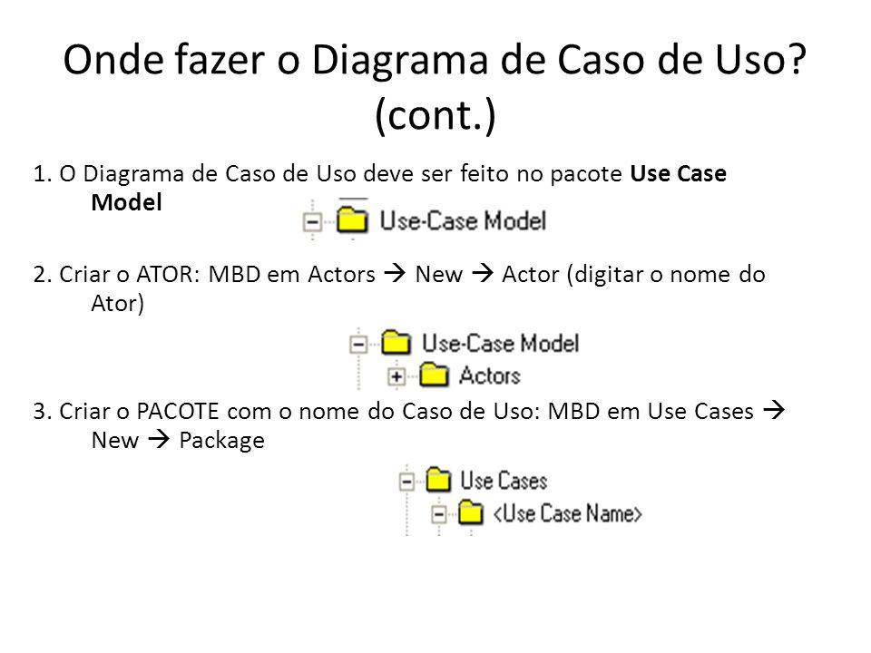 Onde fazer o Diagrama de Caso de Uso.(cont.) 1.