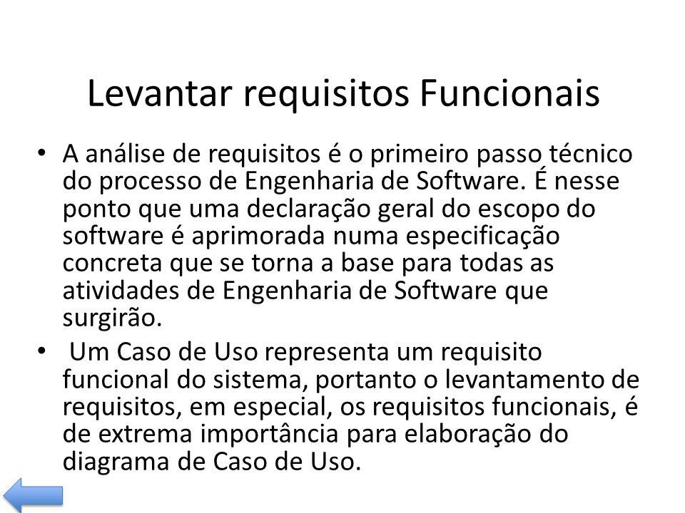 Levantar requisitos Funcionais A análise de requisitos é o primeiro passo técnico do processo de Engenharia de Software.