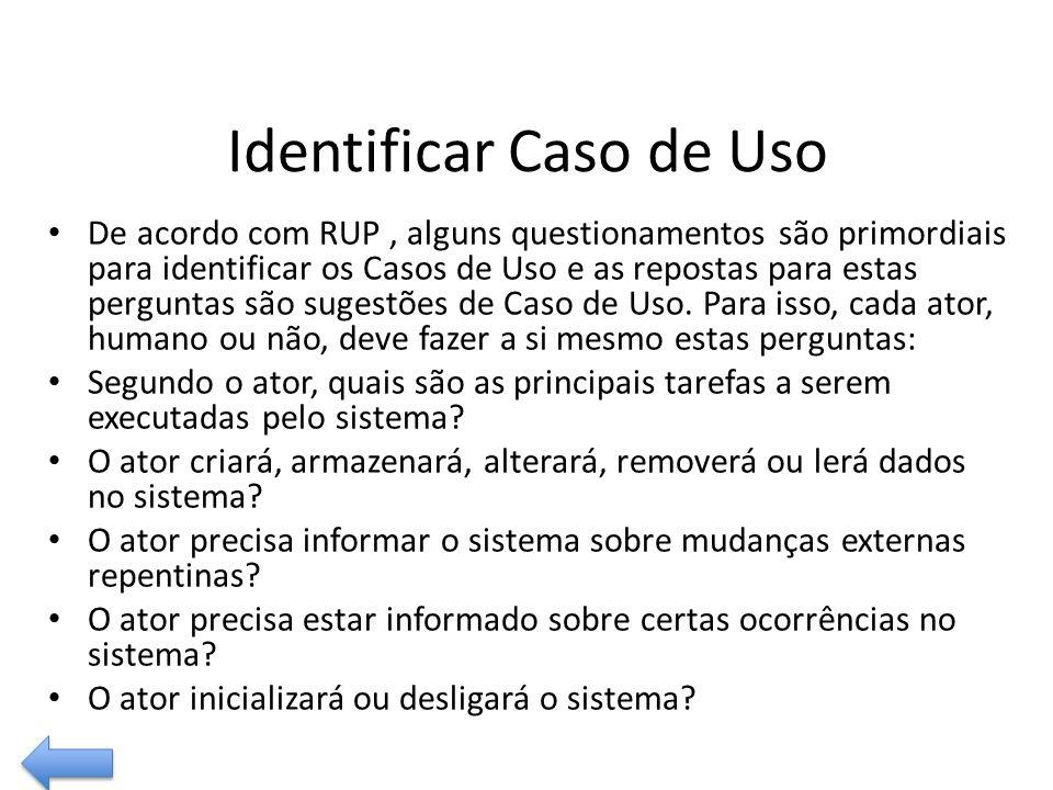 Identificar Caso de Uso De acordo com RUP, alguns questionamentos são primordiais para identificar os Casos de Uso e as repostas para estas perguntas são sugestões de Caso de Uso.