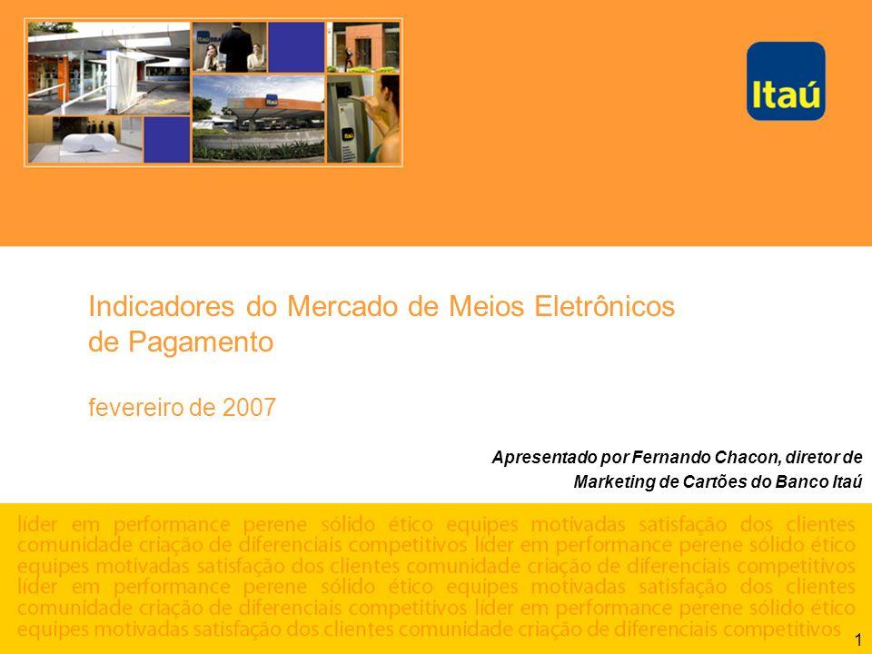 1 Indicadores do Mercado de Meios Eletrônicos de Pagamento fevereiro de 2007 Apresentado por Fernando Chacon, diretor de Marketing de Cartões do Banco