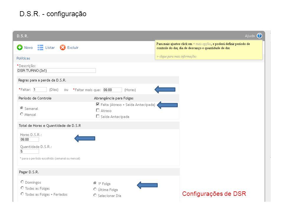 D.S.R. - configuração Configurações de DSR