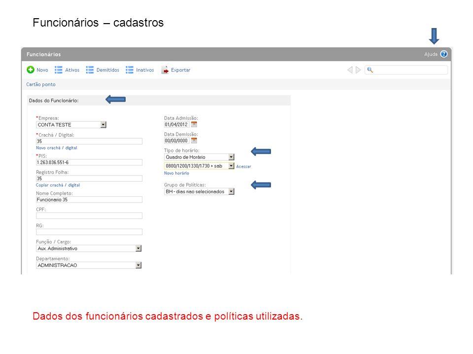 Funcionários – cadastros Dados dos funcionários cadastrados e políticas utilizadas.