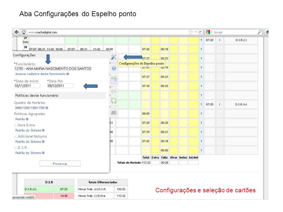 Aba Configurações do Espelho ponto Configurações e seleção de cartões