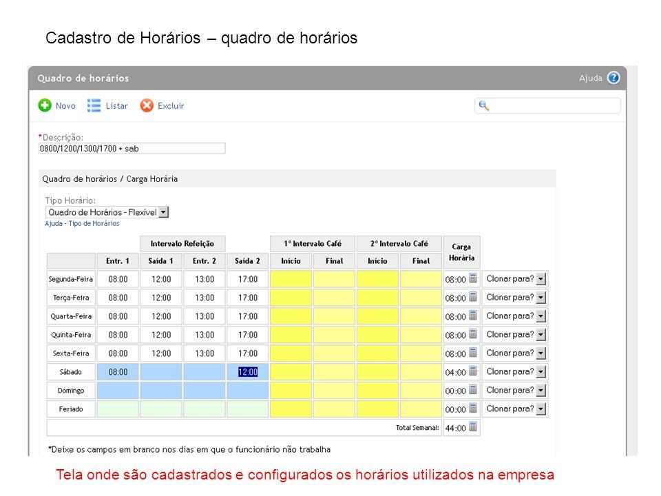 Cadastro de Horários – quadro de horários Tela onde são cadastrados e configurados os horários utilizados na empresa