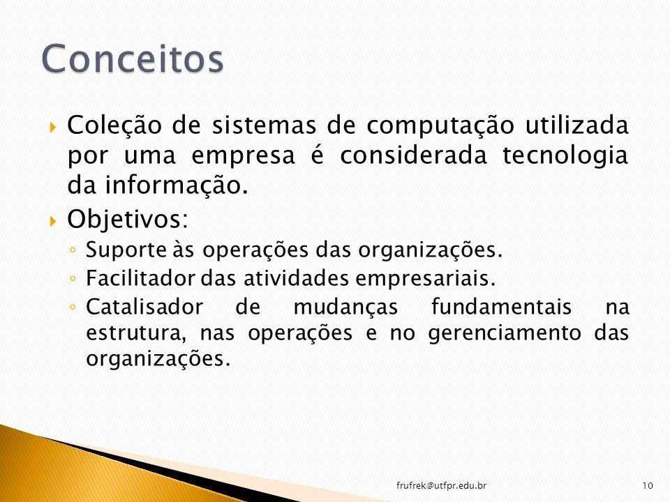 Coleção de sistemas de computação utilizada por uma empresa é considerada tecnologia da informação. Objetivos: Suporte às operações das organizações.