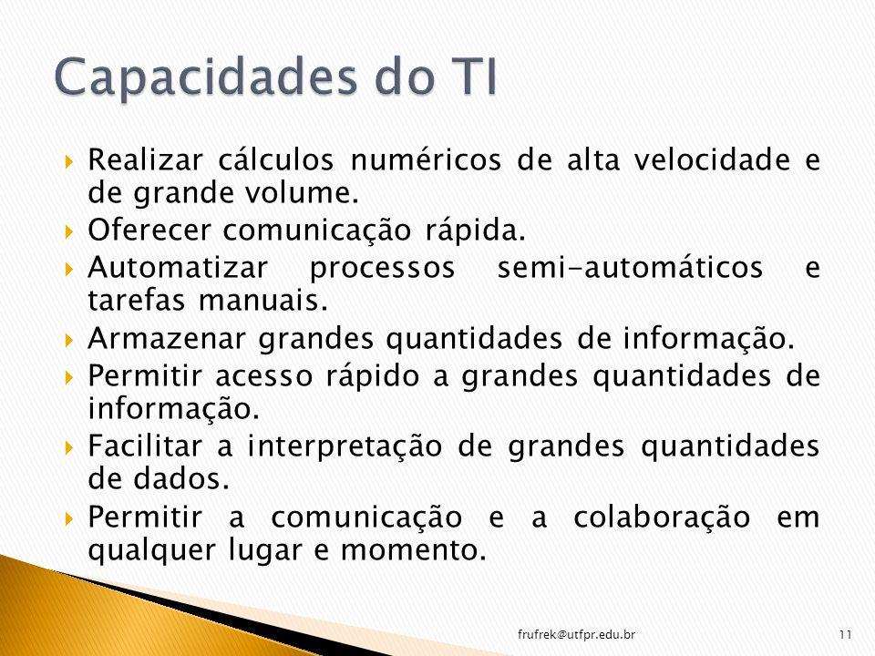 Realizar cálculos numéricos de alta velocidade e de grande volume. Oferecer comunicação rápida. Automatizar processos semi-automáticos e tarefas manua