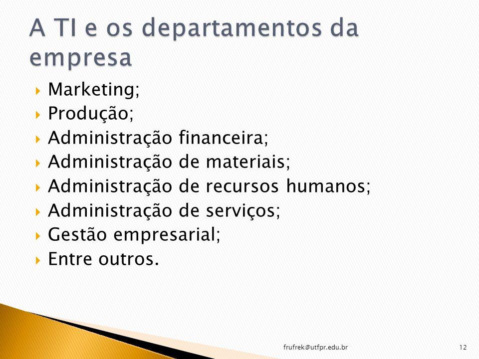 Marketing; Produção; Administração financeira; Administração de materiais; Administração de recursos humanos; Administração de serviços; Gestão empres