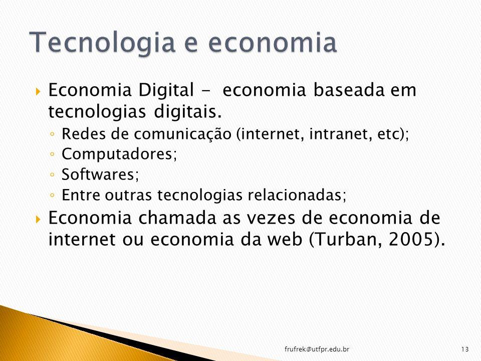 Economia Digital - economia baseada em tecnologias digitais. Redes de comunicação (internet, intranet, etc); Computadores; Softwares; Entre outras tec