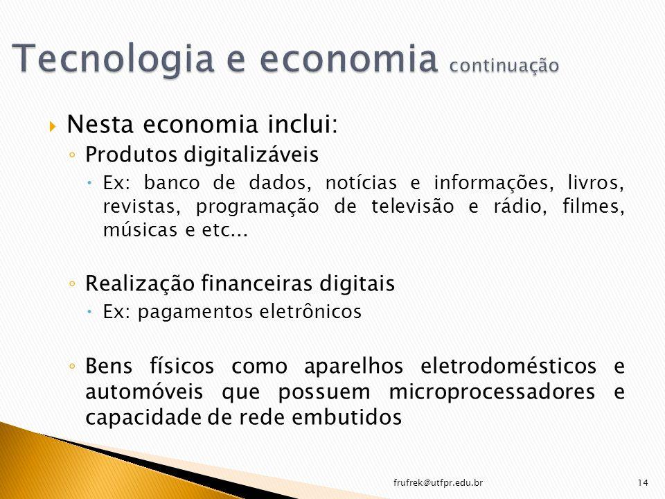 Nesta economia inclui: Produtos digitalizáveis Ex: banco de dados, notícias e informações, livros, revistas, programação de televisão e rádio, filmes,